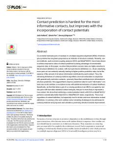Contact prediction is hardest for the most informative contacts ... - PLOS