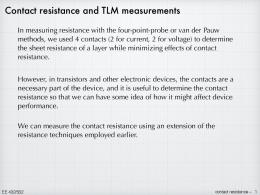 Contact resistance and TLM measurements