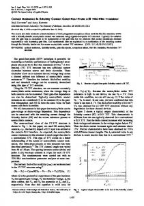 Contact Resistance in Schottky Contact Gated ... - EECS @ Michigan