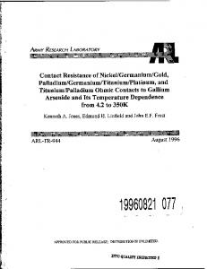 Contact Resistance of Nickel/Germanium/Gold, Palladium/Germanium ...