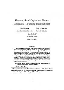 Contacts, Social Capital and Market Institutions - A