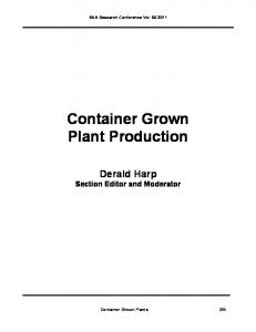 Container Grown Plant Production