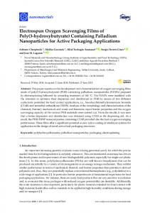 Containing Palladium Nanoparticles for Active Packaging ... - MDPI