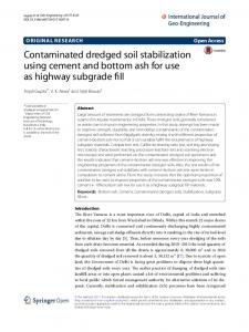 Contaminated dredged soil stabilization using cement ... - Springer Link