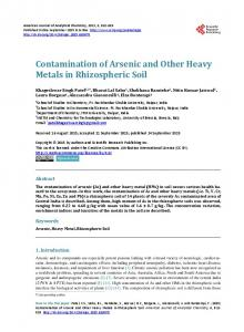 Contamination of Arsenic and Other Heavy Metals in Rhizospheric Soil