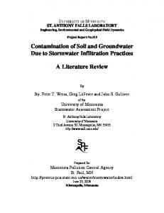 Contamination of Soil and Groundwater Due to Stormwater Infiltration