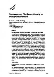 Contemporary Christian spirituality - Koers - Bulletin for Christian ...