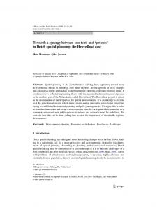 'content' and 'process' in Dutch spatial planning - Springer Link