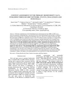 Content assessment of the primary biodiversity data published ... - Core