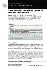 Content Barriers to Pediatric Uptake of Electronic Health Records