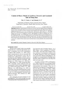 content of heavy metals in lumbricus terrestris and associated ... - Sid