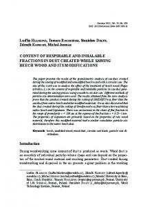 content of respirable and inhalable fractions in dust created while ...