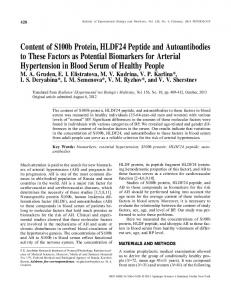 Content of S100b Protein, HLDF24 Peptide and ... - Springer Link