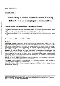 Content validity of Tavana: a test for evaluation of ...