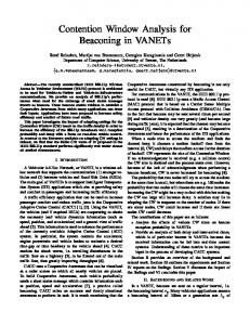Contention Window Analysis for Beaconing in VANETs - University of ...
