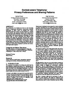 Context-aware Telephony: Privacy Preferences and ... - CiteSeerX