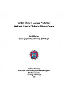 Context Effects in Language Production: Models of ... - David Reitter
