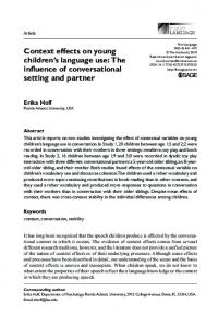 Context effects on young children's language use: The influence of ...