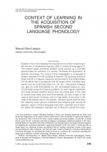 context of learning in the acquisition of spanish second language ...