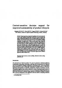 Context-sensitive decision support for improved ...