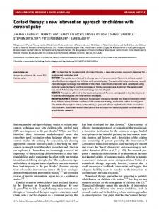 Context therapy: a new intervention approach for