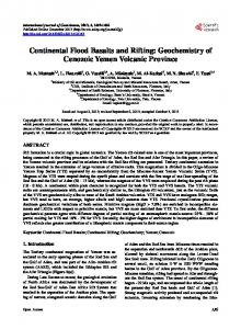Continental Flood Basalts and Rifting - Scientific Research Publishing