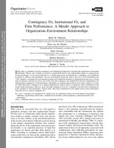 Contingency Fit, Institutional Fit, and Firm Performance: A ... - Lirias