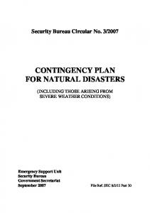 CONTINGENCY PLAN FOR NATURAL DISASTERS