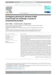 Contingency planning for electronic health record ...