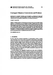 Contingent Valuation: Controversies and Evidence - Department of ...