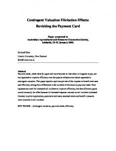 Contingent Valuation Elicitation Effects: Revisiting ... - AgEcon Search