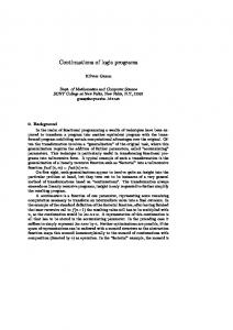 Continuations of logic programs - Semantic Scholar