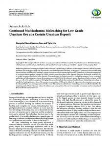 Continued Multicolumns Bioleaching for Low Grade Uranium Ore at a ...