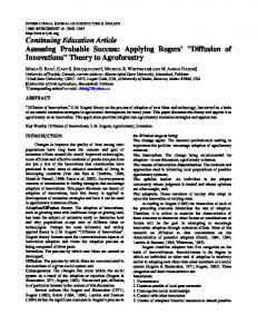 Continuing Education Article Assessing Probable Success: Applying ...