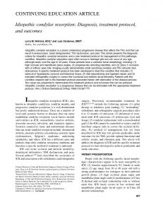 CONTINUING EDUCATION ARTICLE Idiopathic condylar resorption ...