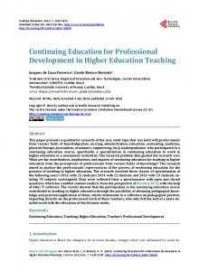 Continuing Education for Professional Development in Higher ...