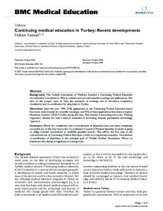 Continuing medical education in Turkey: Recent developments
