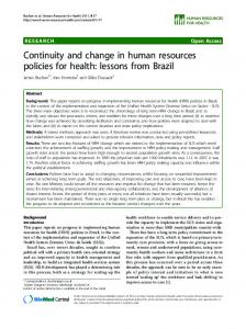 Continuity and change in human resources policies for ... - CiteSeerX