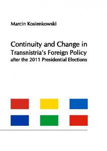 Continuity and Change in Transnistria's Foreign ...