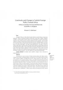 Continuity and Change in Turkish Foreign Policy Toward ... - DergiPark