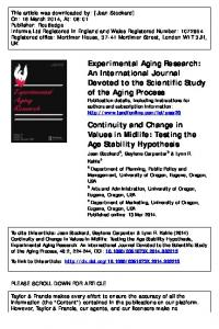 Continuity And Change In Values In Midlife: Testing ...