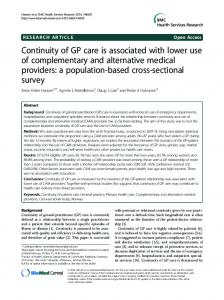 Continuity of GP care is associated with lower use