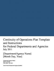 Continuity of Operations Plan Template and Instructions - Wyoming ...