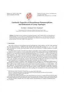 Continuity Properties of Discontinuous Homomorphisms ... - PMF Niš
