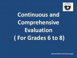 Continuous and Comprehensive Evaluation in the CBSE curriculum