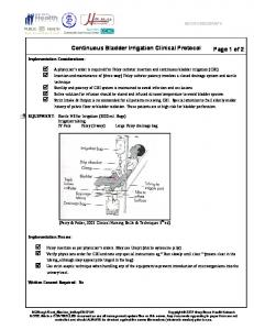 Continuous Bladder Irrigation Clinical Protocol Page 1 of 2 - Gbhn.ca