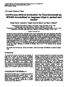 Continuous ethanol production by Kluyveromyces sp ... - CiteSeerX