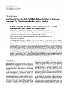 Continuous Exercise but Not High Intensity Interval Training Improves ...