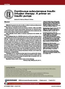 Continuous subcutaneous insulin infusion therapy