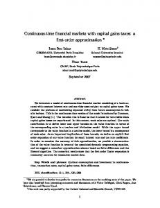 Continuous-time financial markets with capital gains taxes - Sabanci